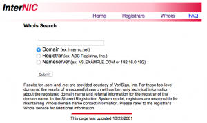 Internic - Do domain name WHOIS searches here!